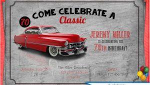 Classic Car Birthday Invitations Classic Car Birthday Party Invitation Adult Men 39 S