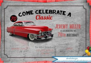 Classic Car Birthday Invitations Classic Car Birthday Party Invitation Adult Men 39 S