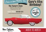Classic Car Birthday Invitations Classic Car Birthday Party Invitation Red 57 by Nineeighteen