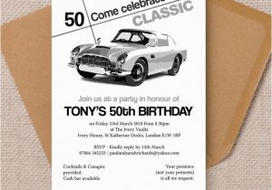 Classic Car Birthday Invitations Stylish Classic Car 50th Birthday Party Invitation From 1