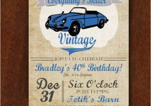 Classic Car Birthday Invitations Vintage Car Birthday Invitation Everything 39 S Better
