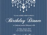 Classy Birthday Invitation Templates 40th Birthday Invitations Elegant Chandelier Blue