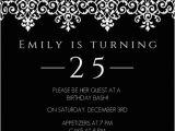 Classy Birthday Invitation Templates Elegant Black and White 25th Birthday Invitation Adult