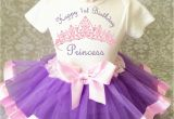 Clothes for First Birthday Girl Princess Lavender Pink Crown Baby Girl 1st First Birthday