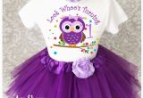 Clothes for First Birthday Girl Purple Owl Look who 39 S Baby Girl 1st First Birthday Tutu