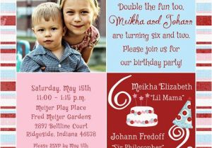 Combined Birthday Party Invitation Wording Boy And Girl Invitations Sibling