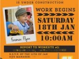 Construction Invites Birthday Party Construction Truck Boy 39 S Birthday Party theme Spaceships