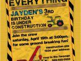Construction themed Birthday Party Invitations Construction Birthday Party Invitation Invite