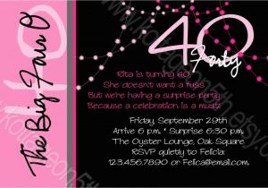 Cool 40th Birthday Invitations Create Surprise Invitation Wording Samples