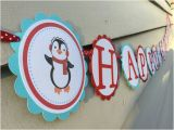 Cool Happy Birthday Banner Cool Penguin Happy Birthday Banner Red and Aqua by Simply