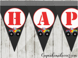 Cool Happy Birthday Banner Red Monster Truck Happy Birthday Banner Instant Download