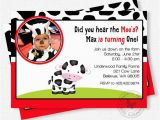 Cow Print Birthday Invitations Cow Birthday Invitation Boy First Birthday Invitation
