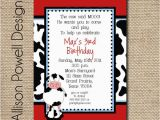 Cow Print Birthday Invitations Cow Farm Birthday Party Invitation Custom by