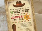 Cowboy Invites Birthday Cowboy Wild West Birthday Party Invitation From 0 80 Each