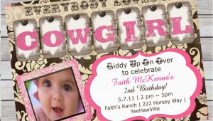 Cowgirl 1st Birthday Invitations Cowgirl Birthday Invitation 1st Birthday or Any Age Pink and