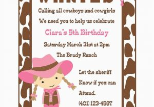 Cowgirl Birthday Invitation Wording Cowgirl Birthday Invitation Digital File Cowgirl