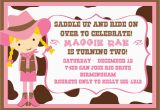 Cowgirl Birthday Invitation Wording Cowgirl Birthday Party Invitations Bagvania Free