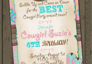 Cowgirl Birthday Invitation Wording Cowgirl Invitation Cowgirl Birthday Party Invitation Cowgirl