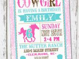 Cowgirl Birthday Invitation Wording Western Cowgirl Birthday Invitation