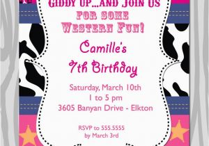 Cowgirl Birthday Invitation Wording Western theme Birthday Party Invitation Pink Bandana
