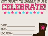 Cowgirl Birthday Invites 8 Best Images Of Printable Western Birthday Invitations