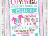 Cowgirl Birthday Invites Western Cowgirl Birthday Invitation