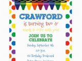 Crayon Birthday Invitations Art Birthday Invitation Crayon Birthday Coloring