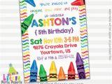 Crayon Birthday Invitations Art Party Invitation Crayons Party Digital Print at