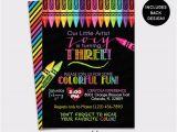 Crayon Birthday Invitations Chalkboard Art Party Birthday Invitation Crayon Painting