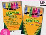 Crayon Birthday Invitations Crayola Crayon Birthday Invitation Crayon Invite Crayon