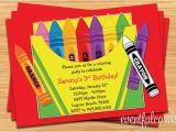Crayon Birthday Invitations Crayon Birthday Party Invitation for Kids