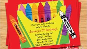 Crayon Birthday Invitations Crayon Birthday Party Invitation for Kids