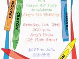 Crayon Birthday Invitations Crayon Birthday Party Invitations