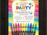Crayon Birthday Invitations Crayon Invitation Art Invitation Paint Invitation Kids