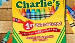 Crayon Birthday Party Invitations Crayon Birthday Invitation Crayon Party Invitation Crayola