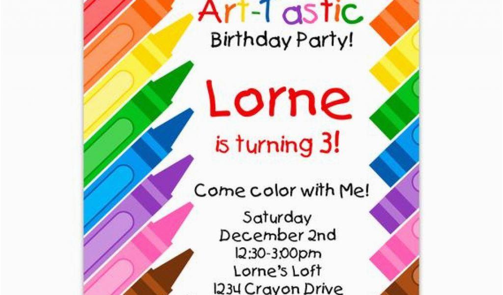 Crayon Birthday Party Invitations Kids Art Invitation Rainbow