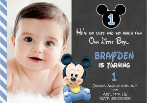Create First Birthday Invitations Online Free Printable Mickey Mouse 1st