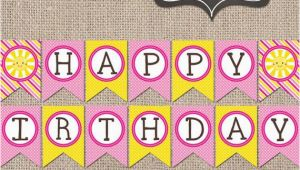 Create Happy Birthday Banner Online Sunshine Happy Birthday Banner Instant by Inkobsessiondesigns