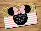 Create Minnie Mouse Birthday Invitations Minnie Mouse Birthday Invitations Polka Dots Gold and Pink
