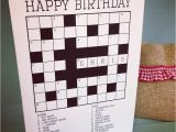 Crossword Birthday Card Personalised Crossword Puzzle Card by so Close