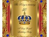 Crown Royal Birthday Invitations Prince or King Red Gold Royal Blue Crown Birthday Card