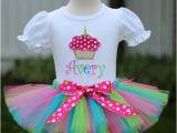 Cupcake Birthday Dresses Personalized Multicolored Polka Dot Cupcake Birthday Tutu