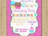 Cupcake Decorating Birthday Party Invitations Cupcake Decorating Birthday Invitation Cupcake Invitation