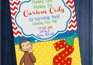 Curious George 2nd Birthday Invitations Curious George 2nd Birthday Invitation by Simplysoutherngfx