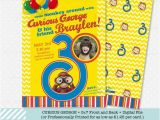 Curious George 2nd Birthday Invitations Curious George Birthday Invitation 5×7 Birthday Invitations