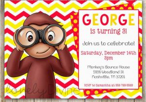 Curious George 2nd Birthday Invitations Curious George Chevron Birthday 1st Birthday Invitation 2nd