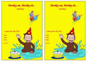 Curious George Birthday Invites Curious George Birthday Invitations Bagvania Free