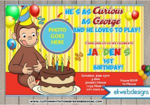 Curious George Birthday Invites Curious George Birthday Invitations Custom Photo Invite