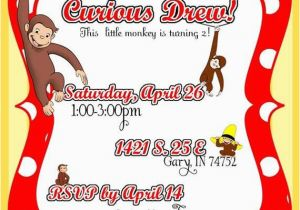 Curious George Birthday Invites Diy Printable but Customized Curious George Monkey Invitation