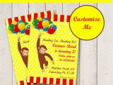 Curious George Birthday Invites Editable Curious George Party Invitation Personalized